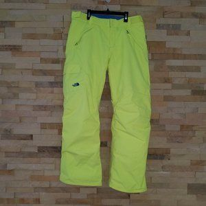 North Face Womens Large Yellow Ski Snow Pants Bibs Snowboard Suit Ladies